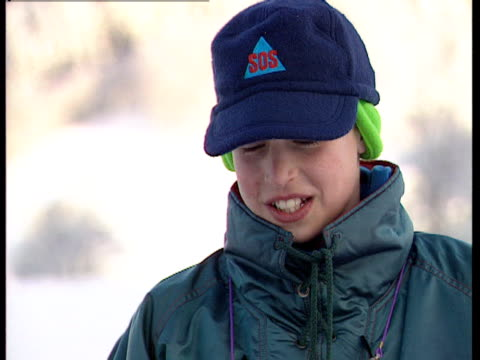 prince william enjoys a skiing holiday in klosters - vacanza sulla neve video stock e b–roll