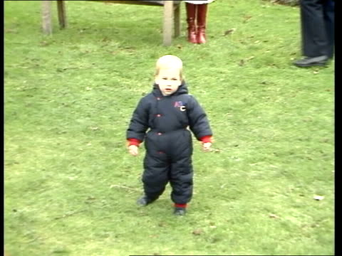 prince william first steps at press photocall; england: london: kensington palace: lms prince charles, princess diana and prince william into garden... - photographer stock videos & royalty-free footage
