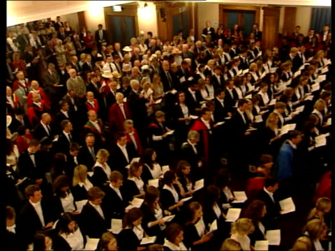 prince william graduates from st andrews university ceremony scotland fife st andrews st andrews university people standing waiting for arrival of... - 2005 stock videos and b-roll footage