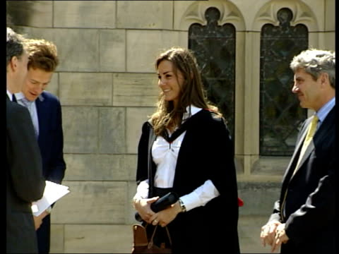 prince william graduates from st andrews university prince william statement prince william kissing queen on both cheeks then chatting with her 0005... - 2005 stock videos and b-roll footage
