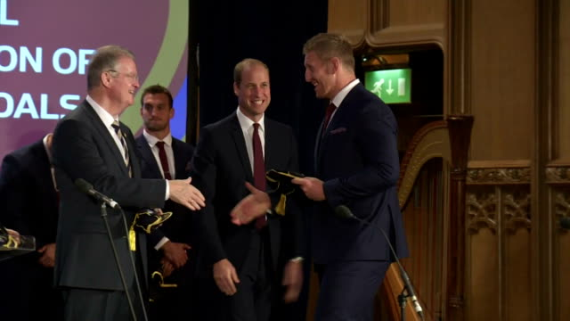 prince william greets welsh rugby squad at rwc 2015 welcome ceremony for wales. shows prince william, duke of cambridge shaking hands with various... - typisch walisisch stock-videos und b-roll-filmmaterial
