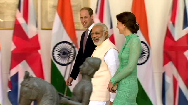 vídeos de stock, filmes e b-roll de prince william has raised the pressures facing the uk steel industry with the indian prime minister during the royal tour of the country. the lunch... - primeiro ministro