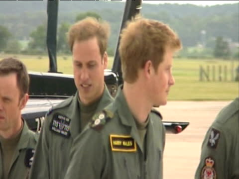 prince william joins prince harry in line up during training session at raf shawbury;18 june 2009 - raf stock videos & royalty-free footage