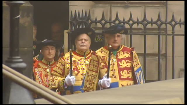 prince william knight of the thistle ceremony: arrivals and departures; prince william, duke of cambridge enters side entrance to cathedral/ duchess... - thistle stock videos & royalty-free footage