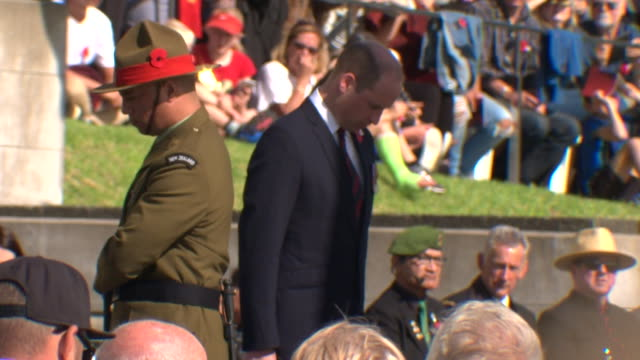 Prince William lays a floral wreath at the Cenotaph during the ANZAC Day service at Auckland War Memorial Museum New Zealand