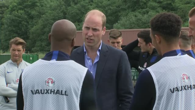 prince william meets england team england west yorkshire leeds prince william duke of cambridge chatting with danny rose and others / william... - harry kane soccer player stock videos & royalty-free footage