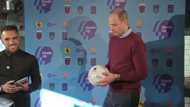 prince william meets football players for 'heads up' mental health campaign; england: london: paddington: int **beware flash photography** prince... - mental health stock videos & royalty-free footage