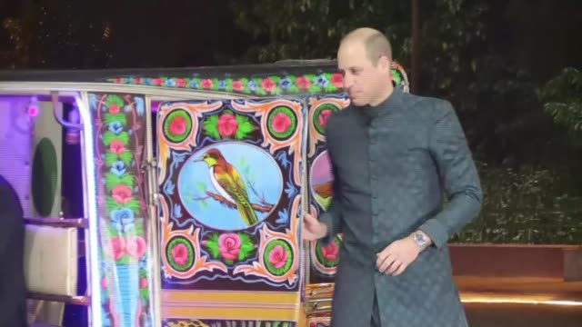 prince william meets prime minister imran khan; pakistan: islamabad: ext / night **beware flash photography** various shots of prince william, duke... - rickshaw stock videos & royalty-free footage