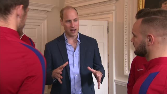 prince william meets world cup winning england u20 squad ***flash prince william meeting england u20 football squad luke southwood and dominic... - bournemouth england stock videos & royalty-free footage