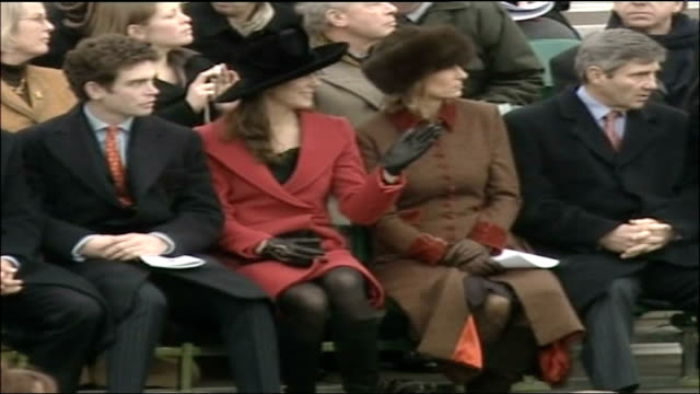 prince william passing out parade at sandhurst military academy kate middleton seated with her parents amongst spectators - 2006 stock videos & royalty-free footage