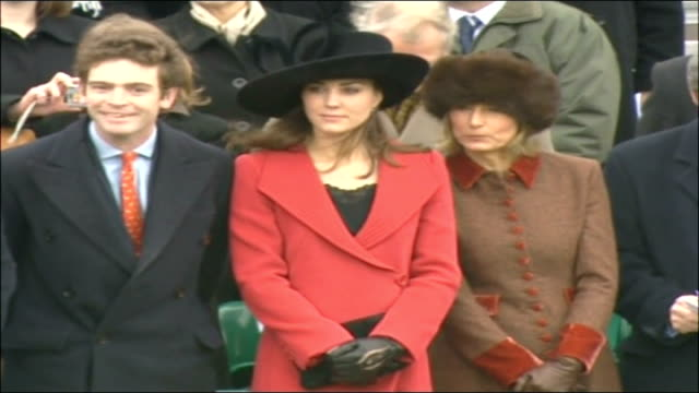 prince william passing out parade at sandhurst military academy kate middleton standing with her family amongst spectators - 2006 stock videos & royalty-free footage