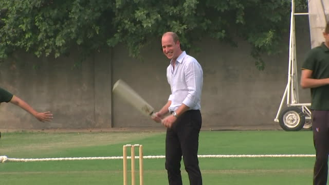 prince william plays cricket at the national cricket academy in lahore on their tour of pakistan - sporting term stock videos & royalty-free footage