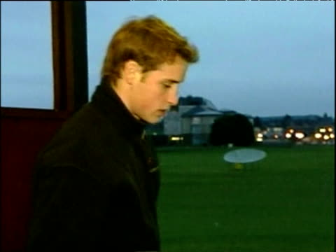 prince william practices his golf at driving range whilst studying at st andrew's scotland 15 dec 03 - golf swing stock videos & royalty-free footage