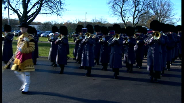 stockvideo's en b-roll-footage met prince william presents medals to soldiers in aldershot first battalion irish guards marching along to military band with company mascot sot - aldershot