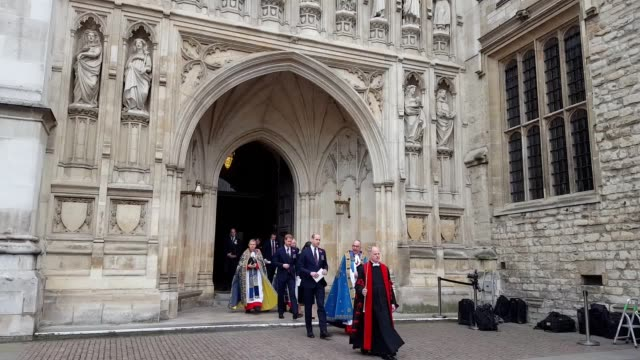 prince william prince harry and meghan markle leave westminster abbey after the anzac day memorial service - anzac day stock videos & royalty-free footage