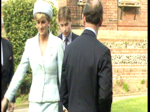 prince william, prince harry, prince charles & princess diana arrive at windsor castle for prince william's confirmation. prince william's... - anno 1997 video stock e b–roll