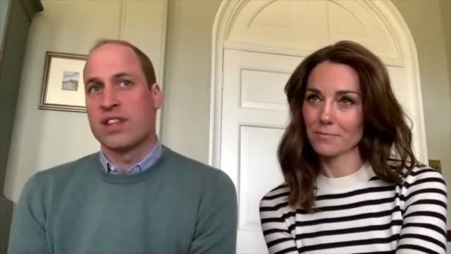 prince william saying he has made sure queen elizabeth ii and the duke of edinburgh self-isolate during the coronavirus crisis - königin stock-videos und b-roll-filmmaterial