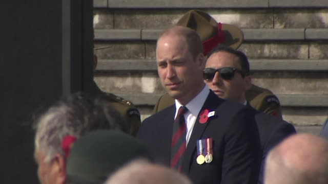 prince william seated amongst dignitaries while attending the anzac day service at auckland war memorial museum, new zealand. - anzac day stock videos & royalty-free footage