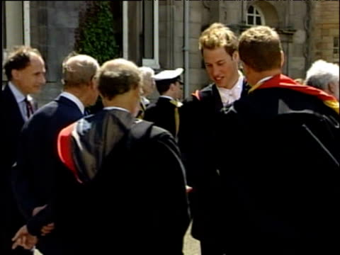 Prince William shakes hands with professors at graduation University of St Andrews Fife 23 June 2005