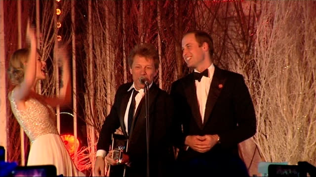 Prince William sings with Jon Bon Jovi and Taylor Swift at Winter Whites Gala London Kensington Palace INT Taylor Swift Jon Bon Jovi and Prince...