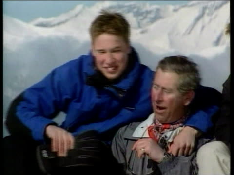 prince william speaks on future lib prince william prince harry prince charles posing for photocall during skiing holiday c5l - vacanza sulla neve video stock e b–roll
