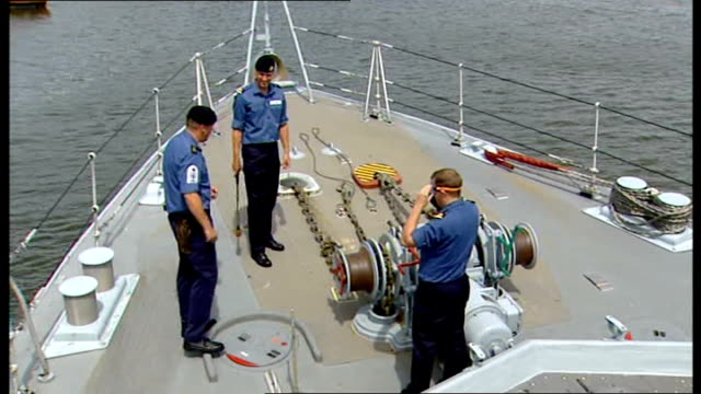 prince william starts attachment with royal navy ext officers and instructor on board former minesweeper 'hindostan' / william holding hammer as... - minesweeping stock videos & royalty-free footage