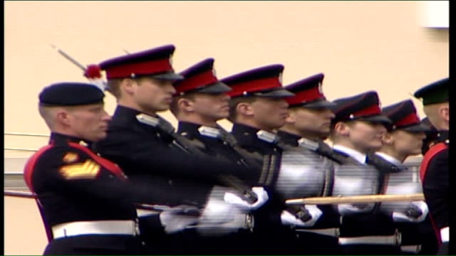 Prince William taking part in Sovereign's Parade at Sandhurst ENGLAND Surrey Camberley Sandhurst EXT Cadets including Prince William marching in...