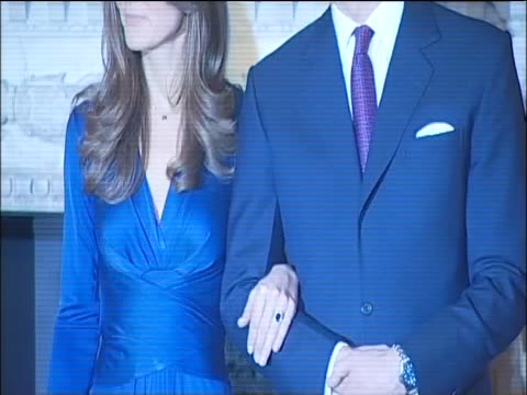prince william talks of the choice of engagement ring and his mother diana during a press conference and photocall announcing his engagement to kate... - duchess of cambridge stock videos & royalty-free footage