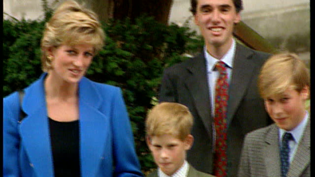 prince william television interview 691995 berkshire eton princess diana and prince charles prince of wales posing with prince william and prince... - eton berkshire stock videos and b-roll footage