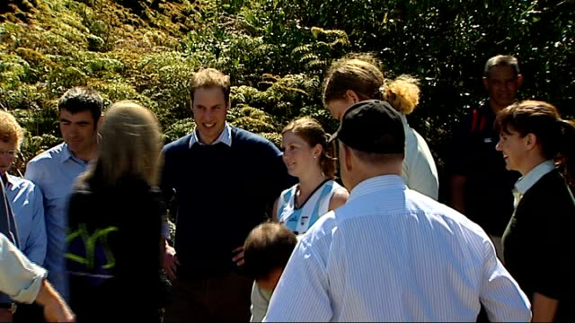 stockvideo's en b-roll-footage met prince william tour day two kapiti wellington wild bird along pull out william sat watching locals perform traditional song / william along to greet... - eskimokus geven