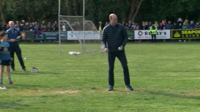 prince william tries out the gaelic sport of hurling on visit to galway on their tour of ireland - fun stock videos & royalty-free footage