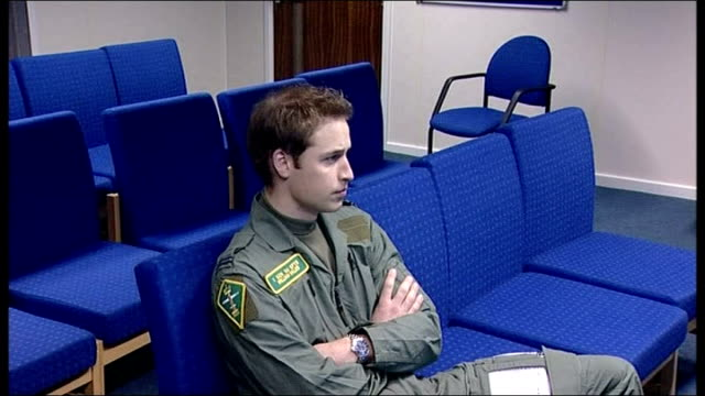 prince william undertakes solo flight for raf training course: pre flight briefing and interview; squadron leader roger bousfield into room followed... - raf stock videos & royalty-free footage