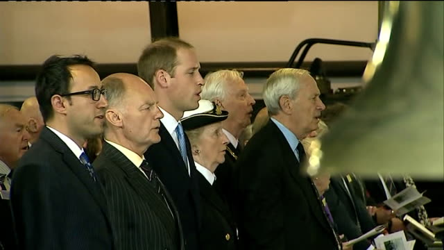 prince william visit to royal navy submarine museum in gosport william and congregation singing the national anthem sot - gosport stock videos & royalty-free footage
