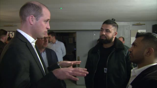Prince William visits CALM charity Prince Williams chats to volunteers / Prince William meeting Rio Ferdinand and onto set to take part in discussion...