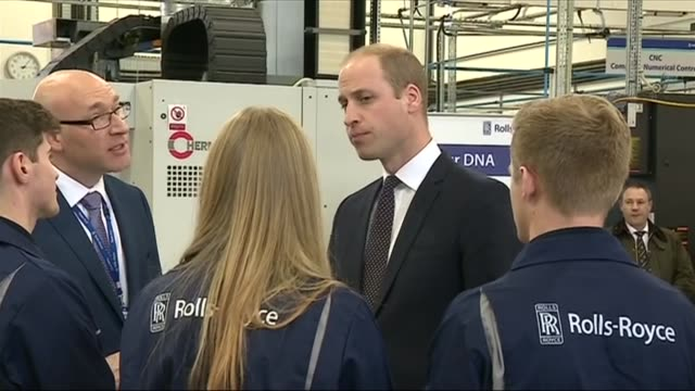 prince william visits rolls royce factory in derbyshire prince william shown turbine engine / apprentices lined up to meet prince / william chats to... - rolls royce stock videos & royalty-free footage