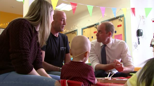 Prince William visits Royal Marsden hospital ENGLAND London Royal Marsden Hospital INT GVs Prince William Duke of Cambridge meeting young cancer...