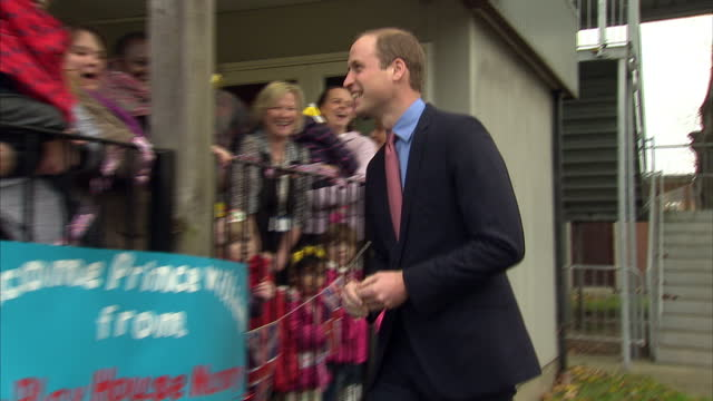 prince william visits the royal marsden nhs foundation shows exterior shots prince william meet greet with children parents outside the nursery at... - greater london stock videos and b-roll footage