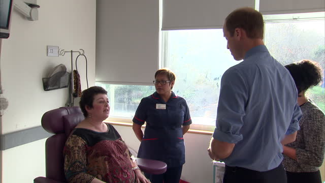 prince william visits the royal marsden nhs foundation shows interior shots prince william talking with patient in the hospital on november 18 2015... - greater london stock videos and b-roll footage