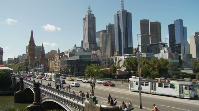 WS HA Princes Bridge with downtown skyline in background / Melbourne, Australia