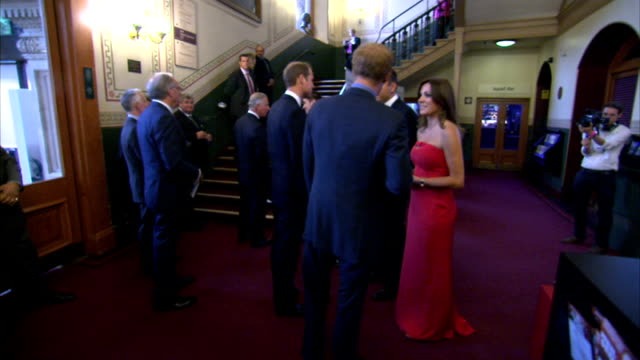 Princes Charles William and Harry arrival and meeting hosts Princes Harry and William chatting with Natalie Pinkham and David Walliams / Prince...