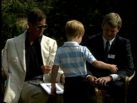 highgrove house prince henry with prince charles england gloucestershire highgrove house back view prince harry along at garden party and shows book... - prinz königliche persönlichkeit stock-videos und b-roll-filmmaterial