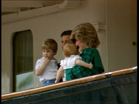 princes collection 1 inj2585 venice princess diana on deck of britannia carrying prince harry charles carries prince william william waves william... - collection stock videos & royalty-free footage