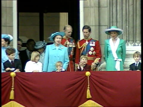 princes collection 1 rushes 11688 london buckingham palace queen prince philip prince charles princess of wales prince william prince harry princess... - trooping the colour stock videos & royalty-free footage