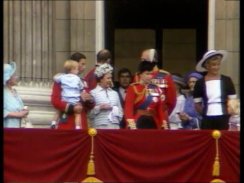 Princes Collection 1 Rushes 16684 London Crowds outside Buckingham Palace Royal family on balcony after Trooping the Colour ceremony Prince Charles...