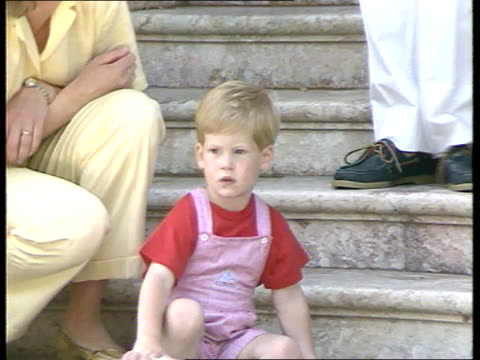 princes collection 1 rushes 9887 photocall with spanish royal family spain majorca marinvent palace charles diana prince harry prince william king... - prince william stock videos & royalty-free footage