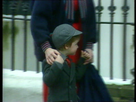 princes collection 1; tx 15.1.87 15.1.87 william's first day at wetherby school. england: west london: wetherby school: diana out of car with william... - day 1 stock videos & royalty-free footage