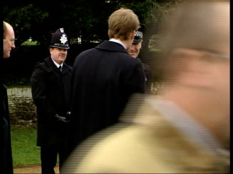 Christmas service ENGLAND Norfolk Sandringham Royals walking to Sandringham Christmas Service including Prince Harry and William William receives a...