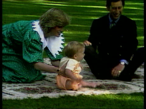 Princes Collection 3 INJ792 Family photocall on lawn in New Zealand Auckland Prince Charles Diana Prince William seated on mat on lawn at...