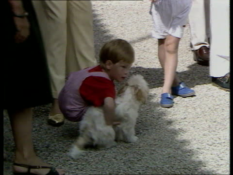 Princes Collection 3 R Majorca Prince William Prince Harry both rubbing their eyes Diana Princess of Wales cuddling Harry Harry picks up dog and...