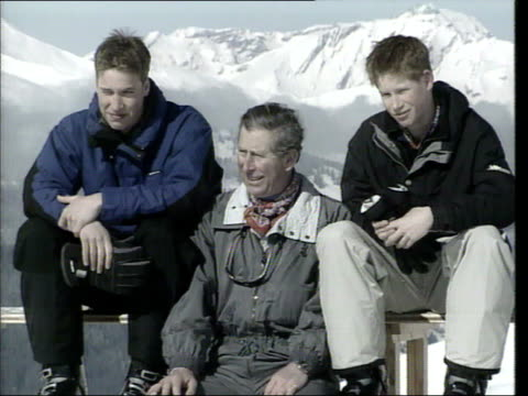 Princes Collection 3 R0704007 Klosters Prince William seated camera pans left to right to Prince Charles Prince Harry pull out both sons put their...